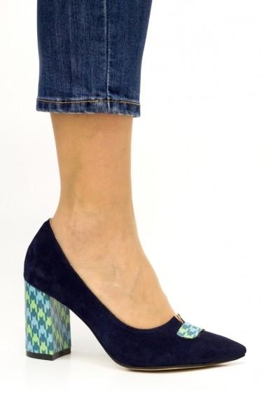 Pantofi cu toc Thea Visconti P-461/18/613 bleumarin cu decor hasurat