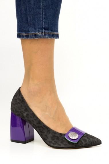 Pantofi cu toc office cu piele animal-print Thea Visconti P-414/18/613