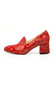 Pantofi cu toc din piele imprimata rosie Thea Visconti P-450/18/992