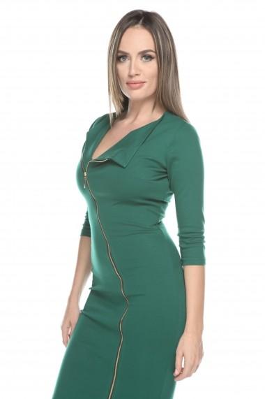Rochie verde Roserry cu fermoar pe fata