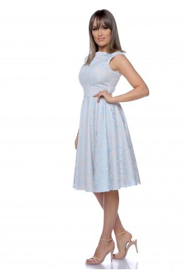 Rochie bleu Roserry clos cu imprimeu si buzunare