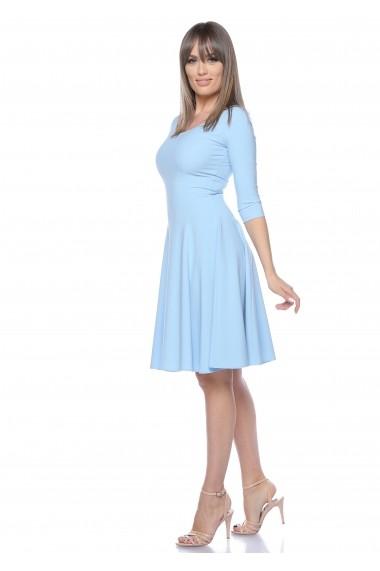Rochie bleu Roserry clos din stofa cu fermoar metalic pe spate