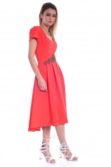 Rochie rosie Roserry clos asimetrica din stofa cu aplicatie in talie
