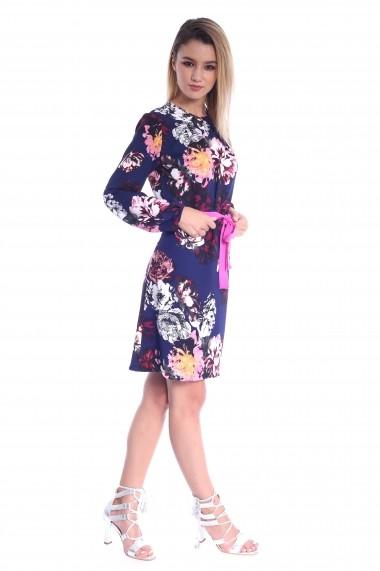 Rochie bleumarin Roserry dreapta cu imprimeu floral