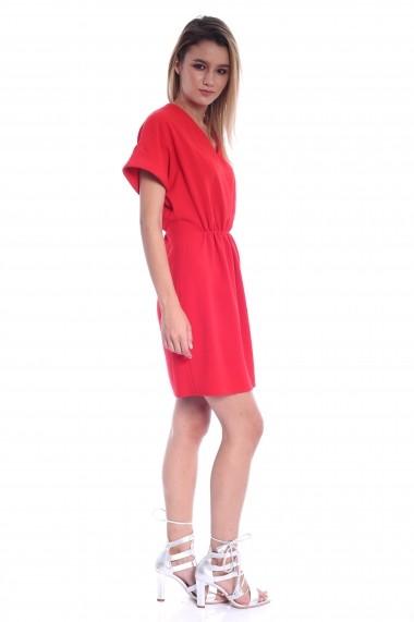 Rochie rosie Roserry din stofa cu elastic in talie