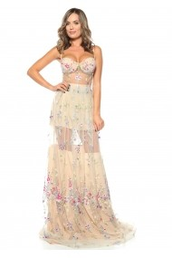 Rochie creme Roserry din tulle brodat si bust corset