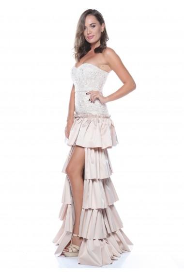 Rochie de mireasa creme Roserry cu bust corset si fusta cu volane