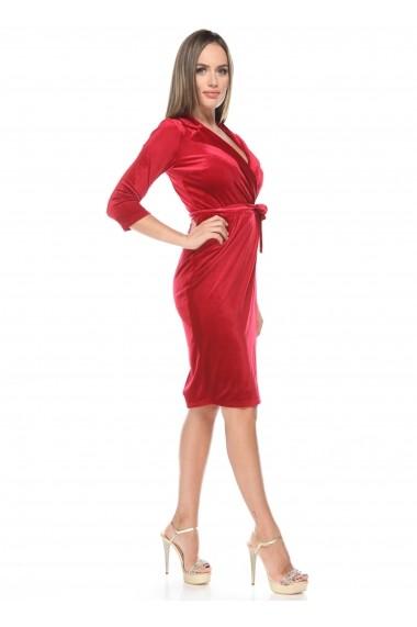 Rochie rosie Roserry din catifea petrecuta stil capod