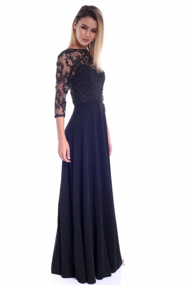 Rochie neagra Roserry lunga din broderie si voal