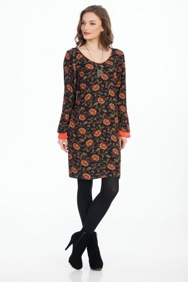 Rochie de zi Sense Ellen negru+caramiziu