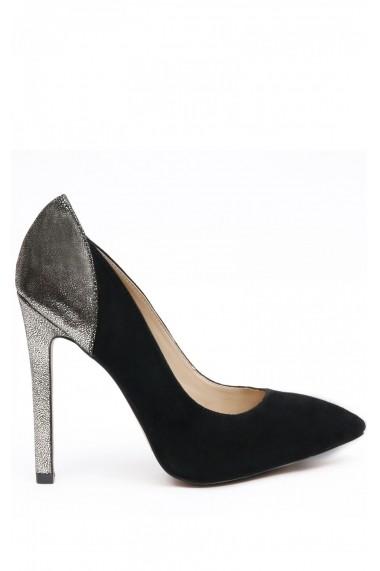Pantofi NISSA cu toc, din piele naturala si piele intoarsa