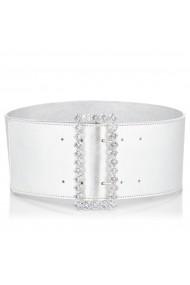 Curea NISSA din piele cu insertie de cristale pe catarama Argintiu