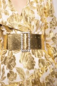 Curea NISSA din piele cu insertie de cristale pe catarama Auriu
