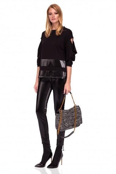 Pantaloni skinny NISSA slim cu textura lucioasa Negru