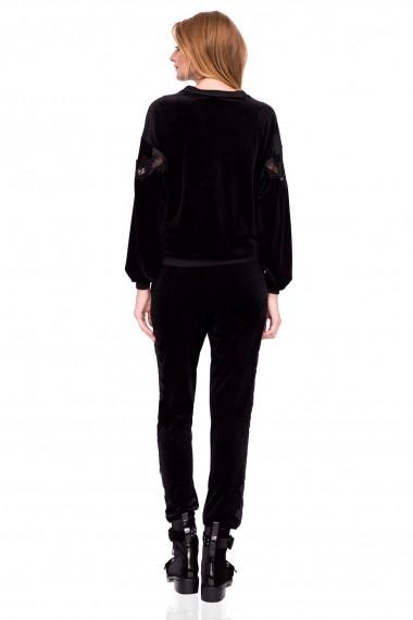 Pantaloni largi NISSA casual din catifea cu detaliu din dantela Negru