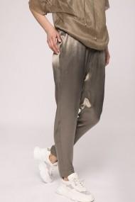 Pantaloni largi NISSA jogger cu efect satinat Kaki
