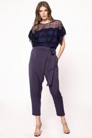 Pantaloni drepti NISSA cu efect satinat si cordon in talie Bleumarin