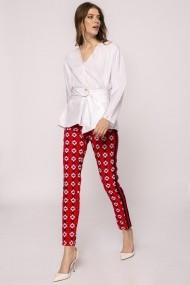 Pantaloni drepti NISSA cu print si vipusca Print