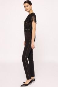 Pantaloni drepti NISSA cu detaliu lateral Negru