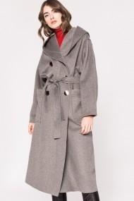 Palton NISSA din lana cu gluga si cordon Gri