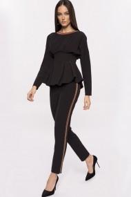 Pantaloni drepti NISSA cu banda laterala stralucitoare Negru
