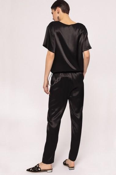 Pantaloni drepti NISSA jogger cu efect satinat Negru