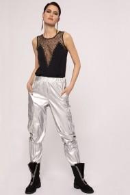 Pantaloni largi NISSA cargo cu efect metalizat Argintiu