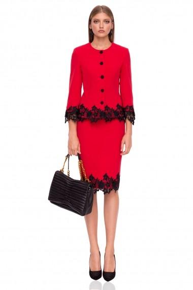 Sacou NISSA elegant in culori contrastante Rosu
