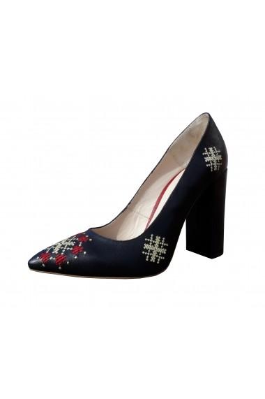 Pantofi cu toc Crisstalus din piele, cu aplicatii