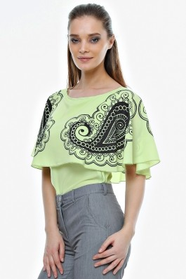 Bluza Crisstalus verde cu print digital, din vascoza