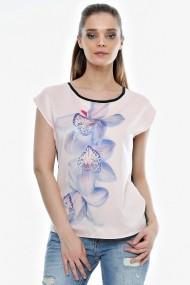 Bluza Crisstalus cu print digital si guler negru