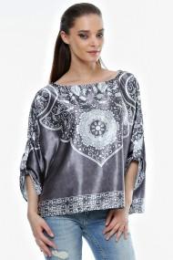Bluza Crisstalus cu print digital, din satin
