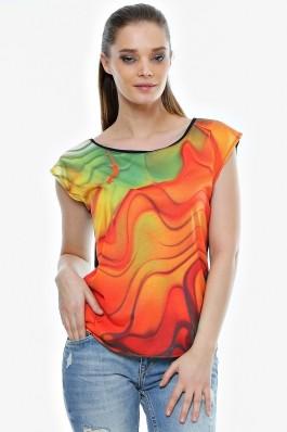 Bluza Crisstalus cu print digital, oranj cu verde