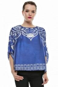 Bluza Crisstalus albastra din satin