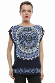 Bluza Crisstalus multicolora, din voal imprimat