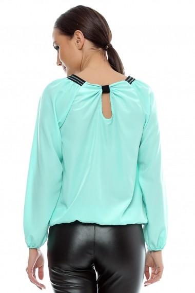 Bluza pentru femei marca Crisstalus aqua din vascoza si matase Turcoaz