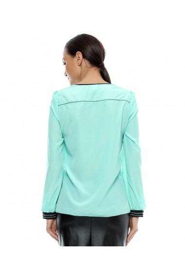 Bluza pentru femei marca Crisstalus cu aplicatie, din vascoza si matase Turcoaz