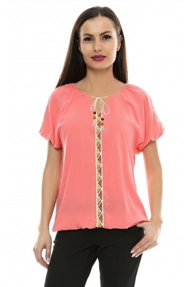 Bluza pentru femei Crisstalus Corai cu aplicatii de dantela brodata