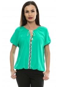 Bluza pentru femei Crisstalus Verde cu aplicatii de dantela brodata