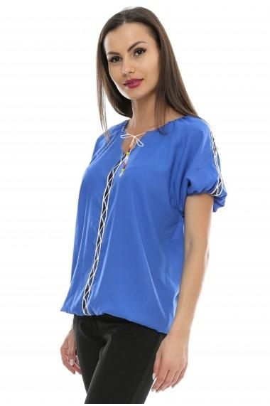 Bluza pentru femei Crisstalus Albastra cu aplicatii de dantela brodata