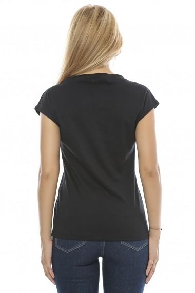 Tricou Crisstalus imprimat, negru din bumbac