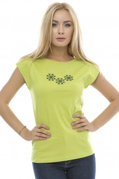 Tricou Crisstalus imprimat, verde din bumbac