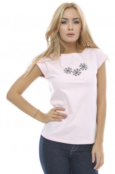 Tricou Crisstalus imprimat, roz din bumbac
