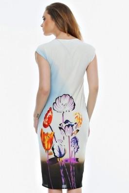 Rochie Crisstalus conica, cu imprimeu floral si guler rotund