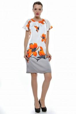 Rochie Crisstalus alb-oranj din matase