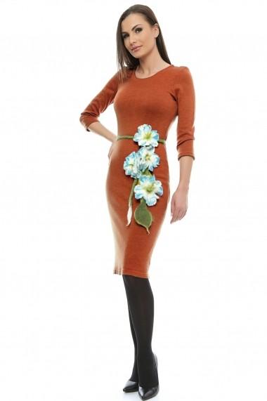 Rochie midi Crisstalus conica portocalie