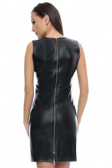 Rochie de seara Crisstalus elastica din piele ecologica neagra