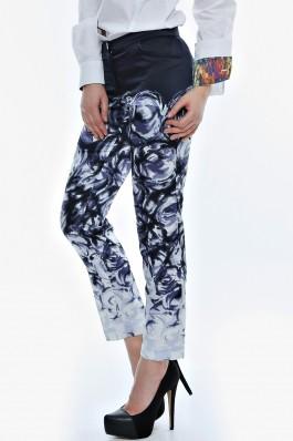Pantalon Drept Crisstalus drepti, cu print digital