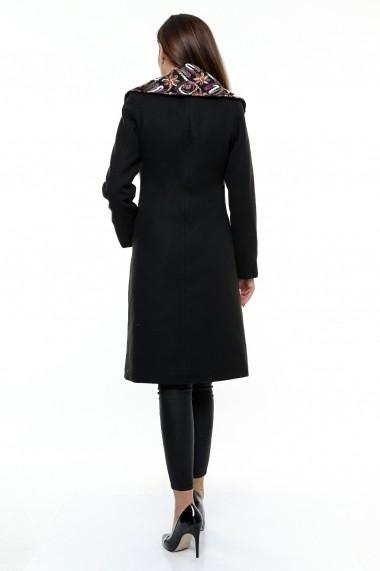 Palton Crisstalus din stofa neagra, cu buzunare