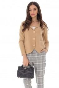 Cardigan Roh Boutique scurt bej tricotat, ROH - BR2259 bej